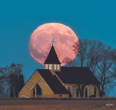 supermoon over Trinity Lutheran Church