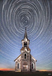 star trails over abandoned church in South Dakota