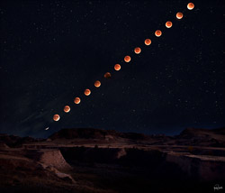 lunar eclipse sequence over Badlands in Montana