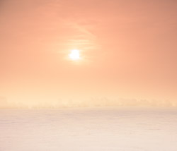 Orange pastels of the sunrise, enhanced by the fog and haze, casts a golden glow over the snowy landscape.