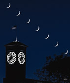 Every 5 minutes I photographed the sequence of the crescent moon setting over the Allen Bradley Clock.